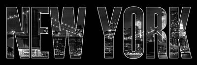 Panoramic Digital Art - New York City Brooklyn Bridge Bw by Melanie Viola