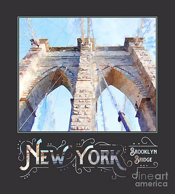 Tourist Attraction Digital Art - New York City Brooklyn Bridge Digital Watercolor by Beverly Claire Kaiya