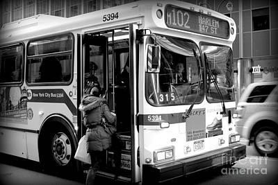Busstop Photograph - New York City Bus by Miriam Danar