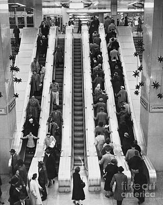Old Bus Stations Photograph - New York City Bus Terminal, 1953 by Bedrich Grunzweig