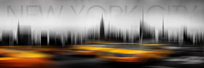 Text Photograph - New York City Cabs Abstract by Az Jackson