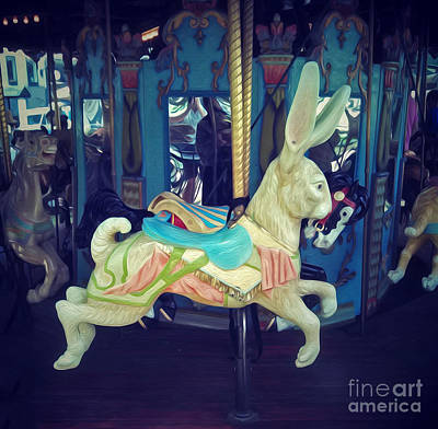 Photograph - New York City Carousel Bunny by Gregory Dyer
