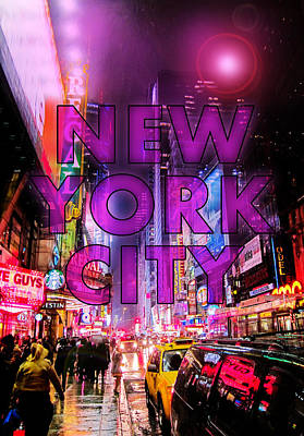 Broadway Digital Art - New York City - Color by Nicklas Gustafsson
