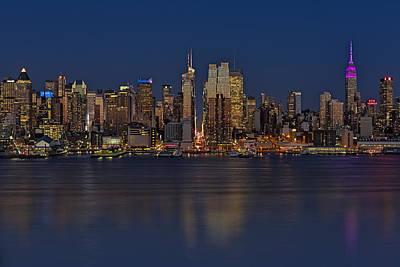 New York City Comes Alives At Sundown Art Print by Susan Candelario