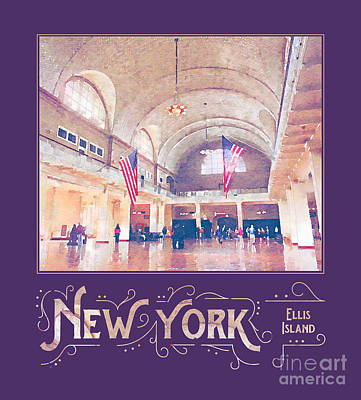 Digital Art - New York City Ellis Island Digital Watercolor by Beverly Claire Kaiya