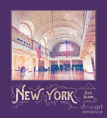 Tourist Attraction Digital Art - New York City Ellis Island Digital Watercolor by Beverly Claire Kaiya