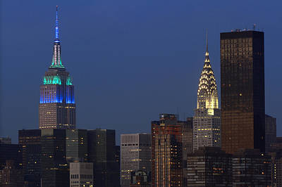 Photograph - New York City Empire State Building And Chrysler Building  by Juergen Roth