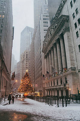 Stock Exchange Photograph - New York City - Festive Holiday Tree In The Snow - Financial District by Vivienne Gucwa