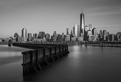 Skylines Royalty-Free and Rights-Managed Images - New York City Financial District BW by Susan Candelario