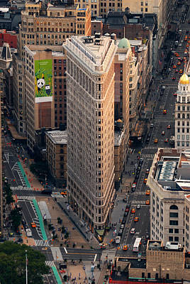 Photograph - New York City Flatiron Building Aerial View In Manhattan by Songquan Deng