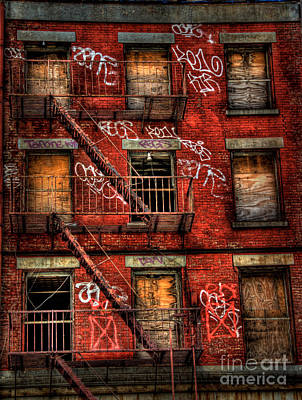 New York City Fire Escapes Photograph - New York City Graffiti Building by Amy Cicconi