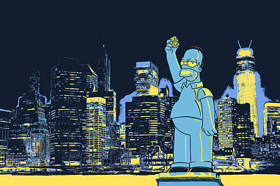 Silhouette Painting - New York City Homer Statue by - BaluX -