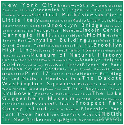 Lincoln Center Photograph - New York City In Words Algae by Sabine Jacobs