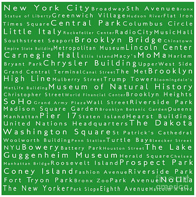 Animal Portraits - New York City in Words Green by Sabine Jacobs