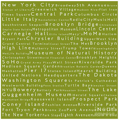 New York City In Words Olive Art Print