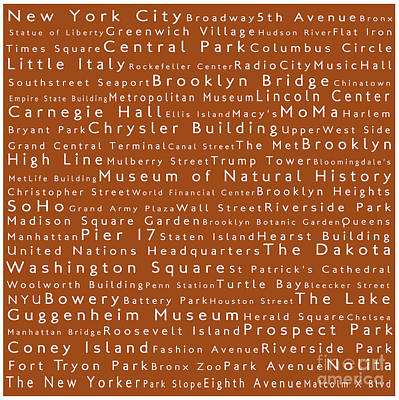 New York City In Words Toffee Art Print