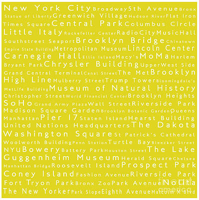 5th Digital Art - New York City In Words Yellow by Sabine Jacobs