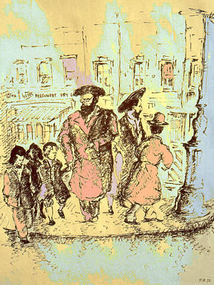 Drawing - New York City Jews - Fine Art by Peter Potter