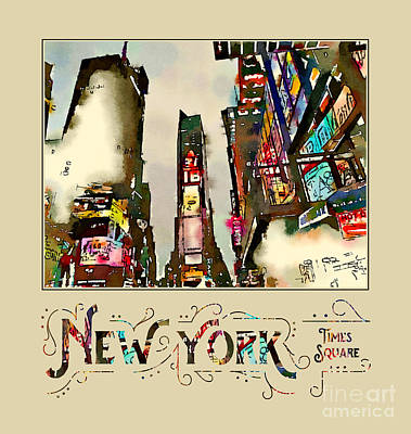Digital Art - New York City Late Night Times Square Digital Watercolor 2 by Beverly Claire Kaiya