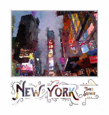 Digital Art - New York City Late Night Times Square Digital Watercolor by Beverly Claire Kaiya