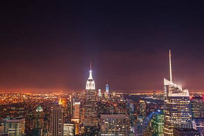New York City Skyline Photograph - New York City Lights At Night by Vivienne Gucwa