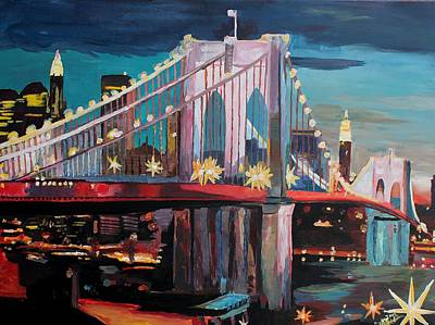 Acryl Painting - New York City - Manhattan Bridge At Night by M Bleichner