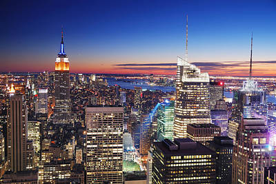 Photograph - New York City Manhattan Empire State Building And Times Square by Songquan Deng