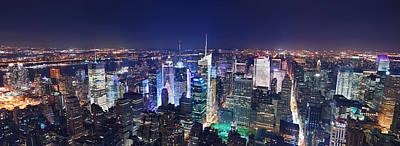 Photograph - New York City Manhattan Night Panorama by Songquan Deng