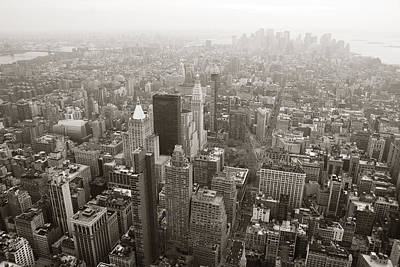 Photograph - New York City Manhattan Skyline Aerial View Black And White by Songquan Deng