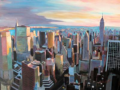 New York City - Manhattan Skyline In Warm Sunlight Art Print