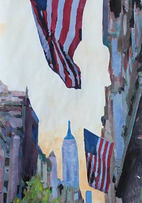 Manhattan Painting - New York City - Manhattan Stars And Stripes by M Bleichner