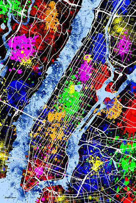 Liberty Island Digital Art - New York City Map by Stephen Younts