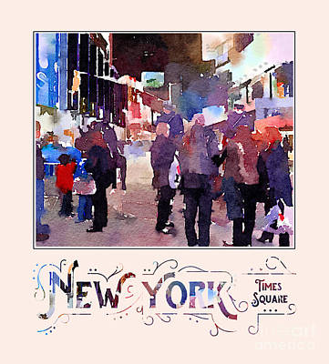 Digital Art - New York City Mounted Police Officers Digital Watercolor by Beverly Claire Kaiya
