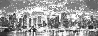 Painting - New York City - Typography Bw by Samuel Majcen