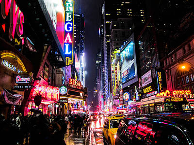 New York Signs Photograph - New York City Night by Nicklas Gustafsson
