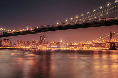 Empire State Photograph - New York City Night - Two Bridges by Vivienne Gucwa