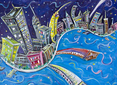 Skylines Paintings - New York CIty Nights by Jason Gluskin