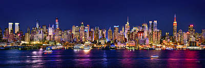 Panoramic Photograph - New York City Nyc Midtown Manhattan At Night by Jon Holiday