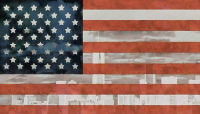 City Scenes Mixed Media - New York City On American Flag by Dan Sproul