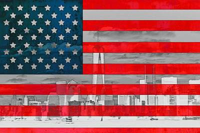 Freedom Mixed Media - New York City Outline On American Flag by Dan Sproul