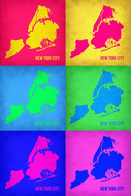 Modern Poster Painting - New York City Pop Art  Map 5 by Naxart Studio