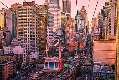 Skylines Photograph - New York City - Skycrapers And The Roosevelt Island Tram by Vivienne Gucwa