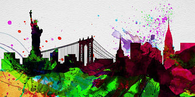 Horizon Painting - New York City Skyline 2 by Naxart Studio