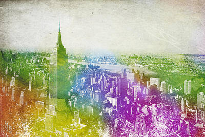 Brooklyn Bridge Mixed Media - New York City Skyline by Aged Pixel