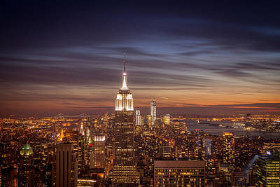 Freedom Tower Photograph - New York City Skyline And Empire State Building At Dusk by Vivienne Gucwa