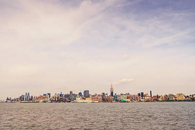 New York City Skyline And The Hudson River Print by Vivienne Gucwa