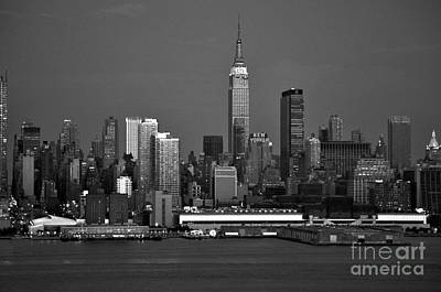 Photograph - New York City Skyline At Dusk Black And White by Kathy Flood