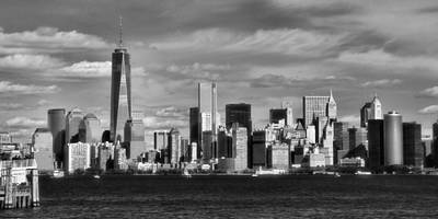 Skylines Royalty-Free and Rights-Managed Images - New York City Skyline Black And White by Dan Sproul