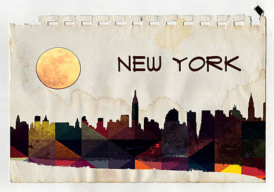 Brooklyn Bridge Mixed Media - New York City Skyline by Celestial Images
