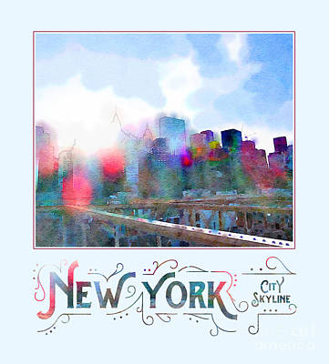 Tourist Attraction Digital Art - New York City Skyline Digital Watercolor by Beverly Claire Kaiya